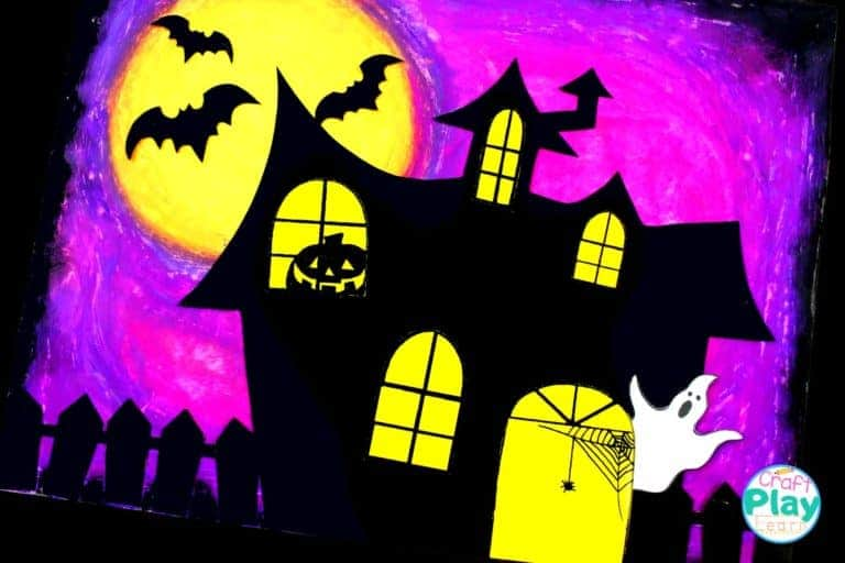 halloween haunted house art project for preschool kids