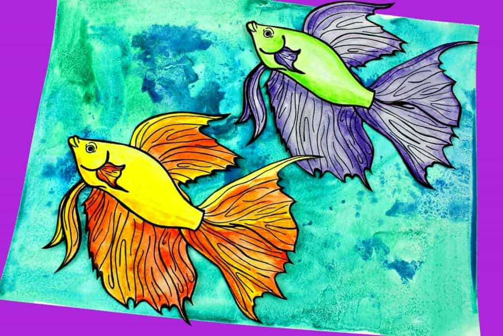 how to make a watercolor fish project with kids