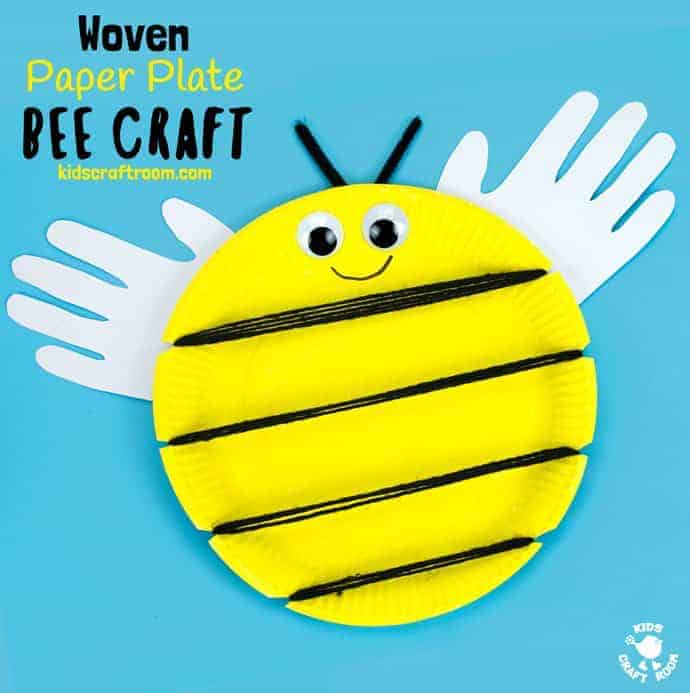 woven paper plate bee craft