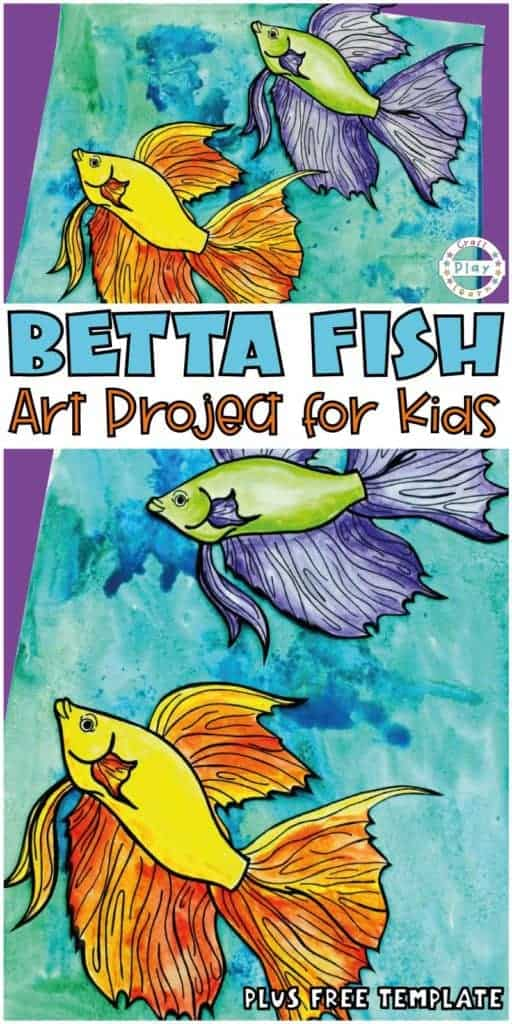 betta fish craft fir kids with watercolor background