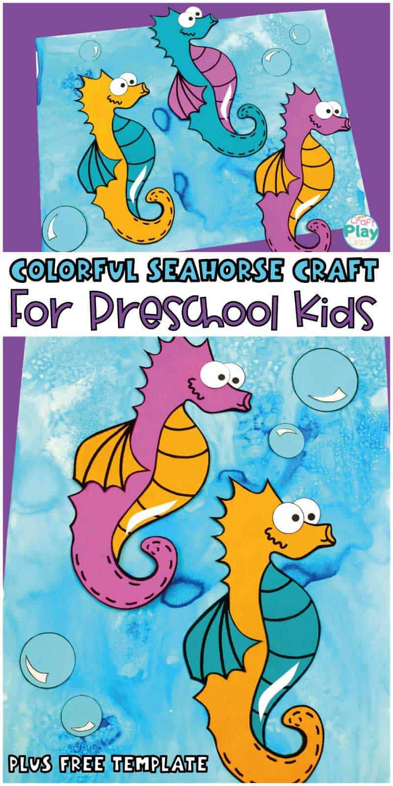 Colorful Seahorse Craft For Preschool Kids Craft Play Learn