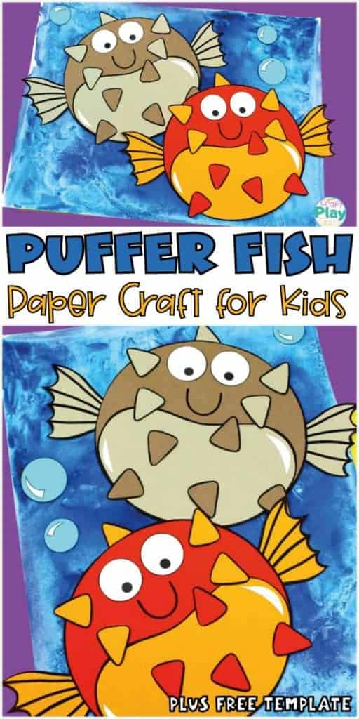 puffer fish craft for preschool kids with free template