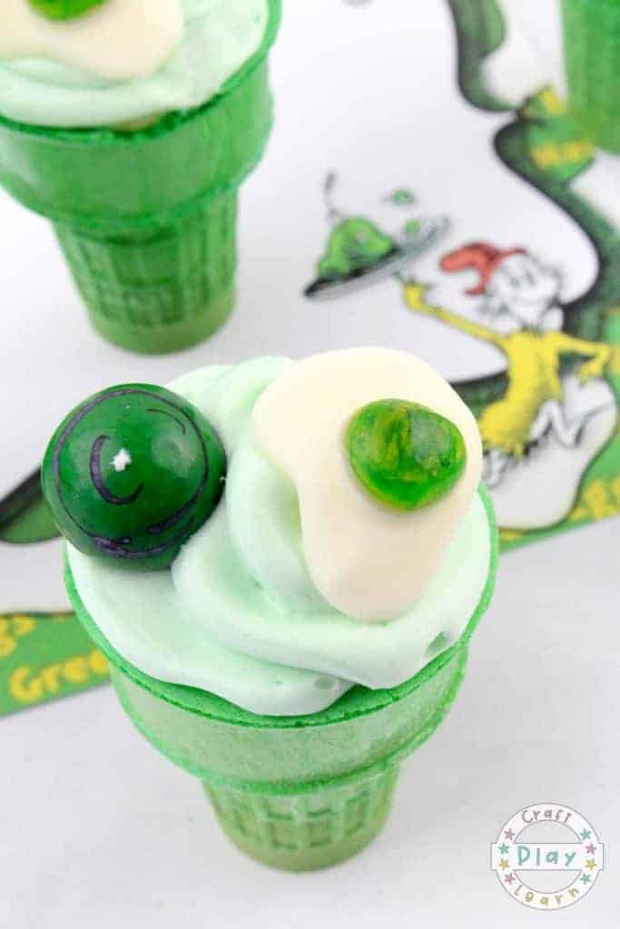 making green eggs and ham batter for dr seuss cupcakes