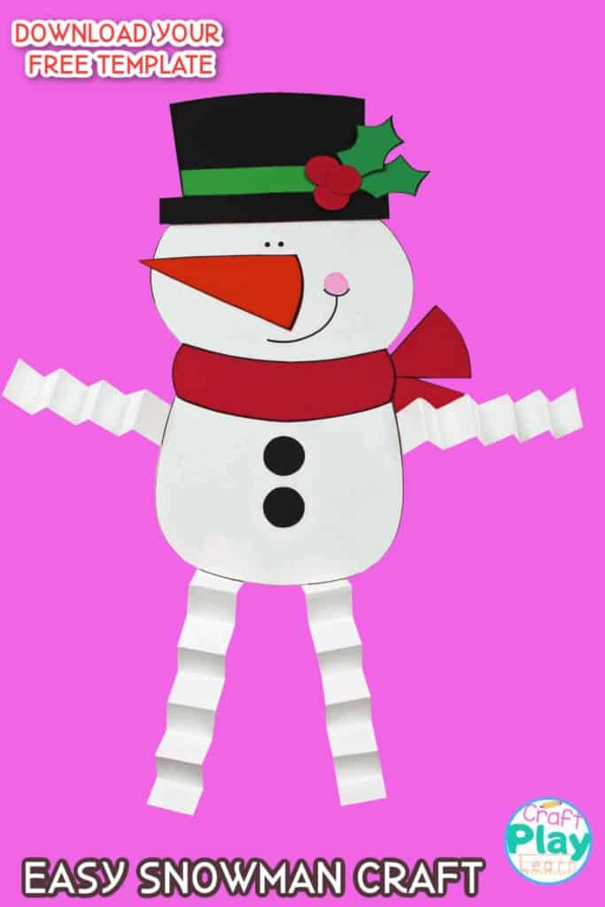 KIDS SNOWMAN CRAFT WITH ACCORDIAN LEGS