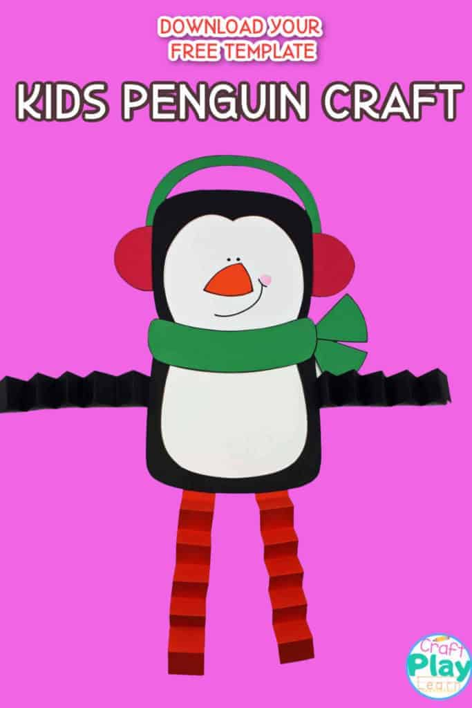 kids penguin craft with accordion legs