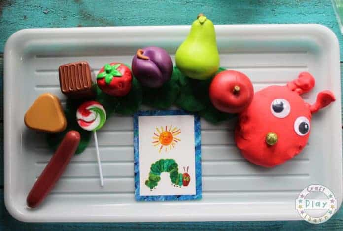 the very hungry caterpillar activity using playdough