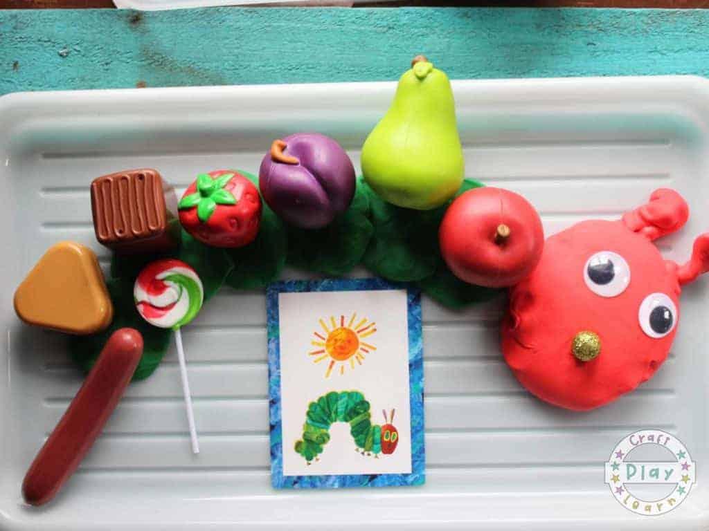 the very hungry caterpillar activity using playdough