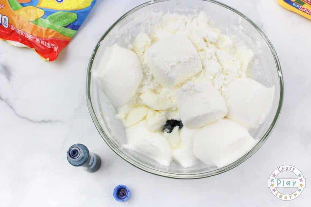 mixing the dr seuss slime recipe