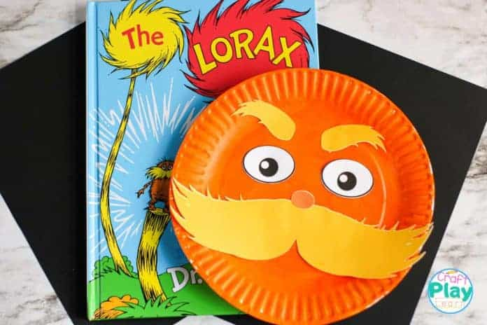 dr seuss craft the lorax paper plate craft