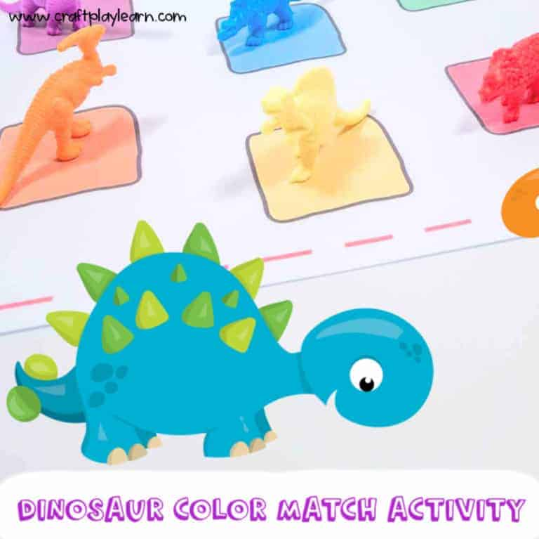 dinosaur color match game and printable