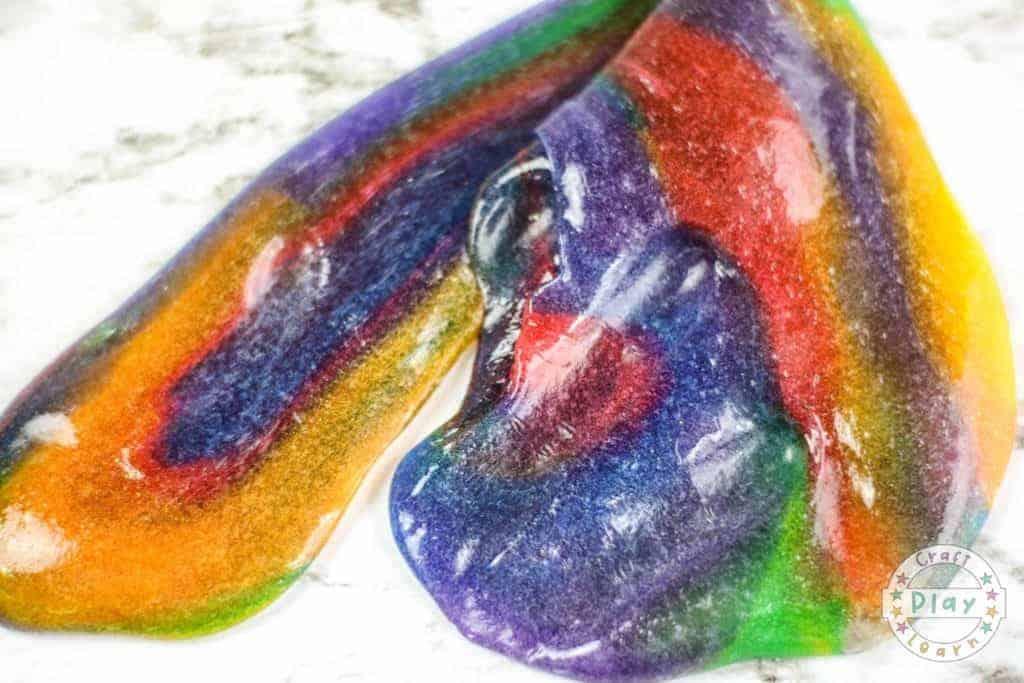 making rainbow slime recipe