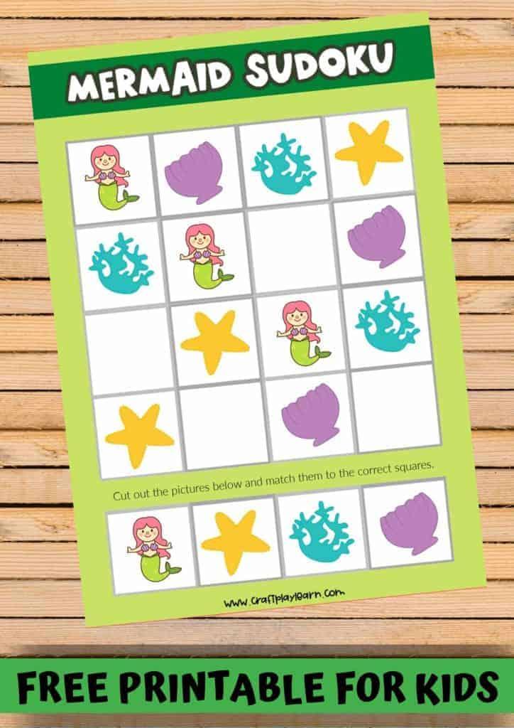 mermaid printable sudoku for kids