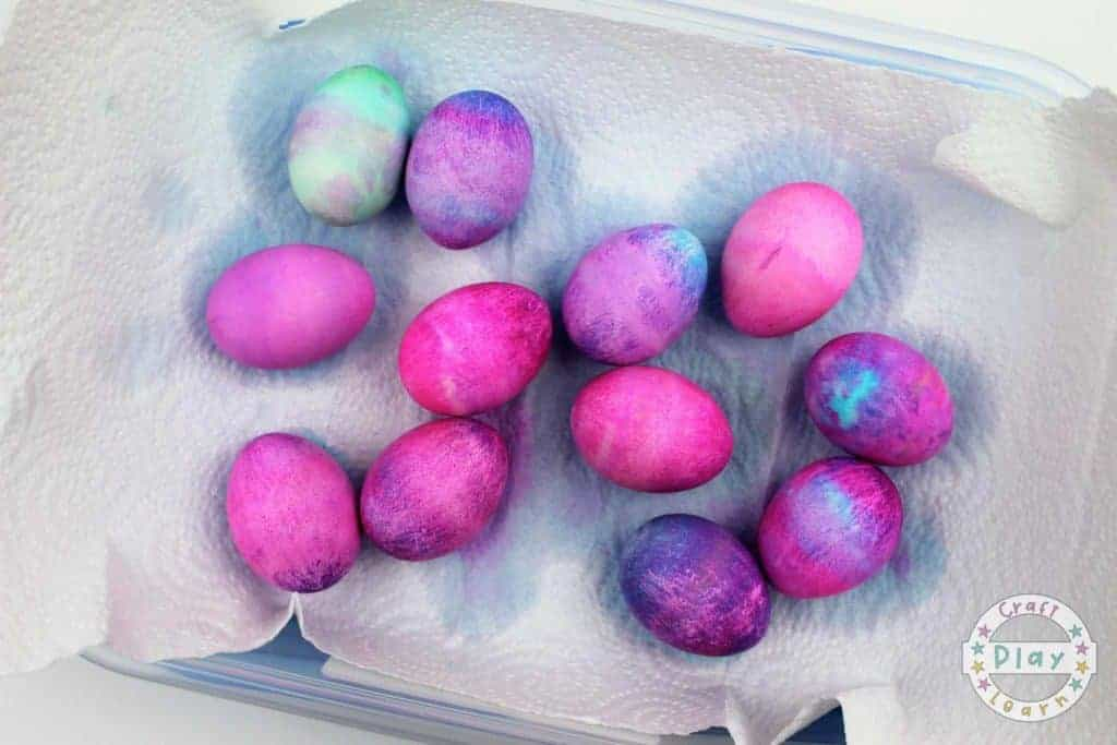 leave dyed eggs to dry