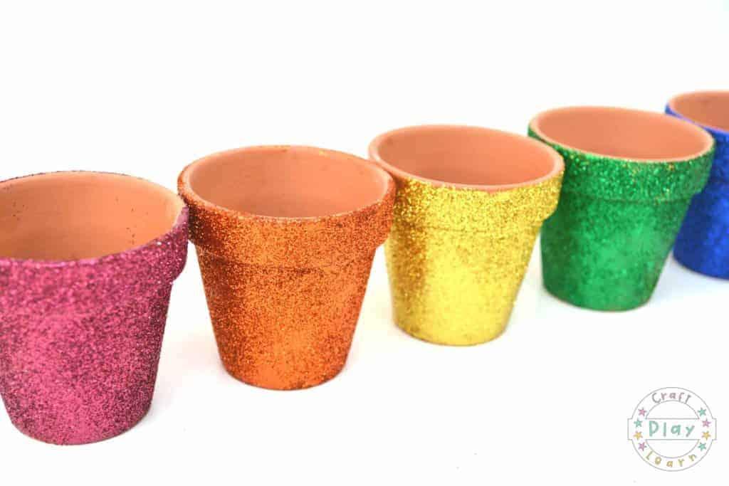 rainbow glitter teracotta pots