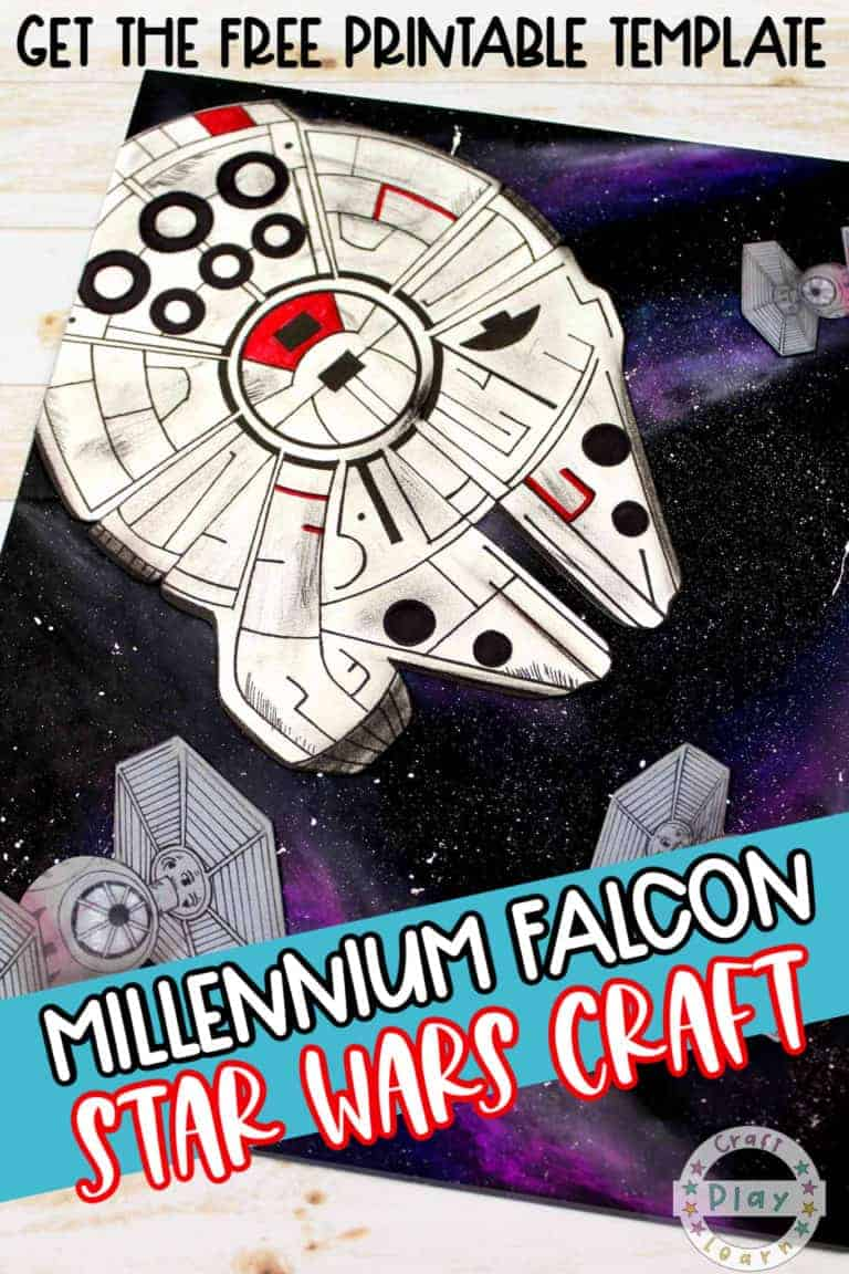 star wars millennium falcon art project with free printable