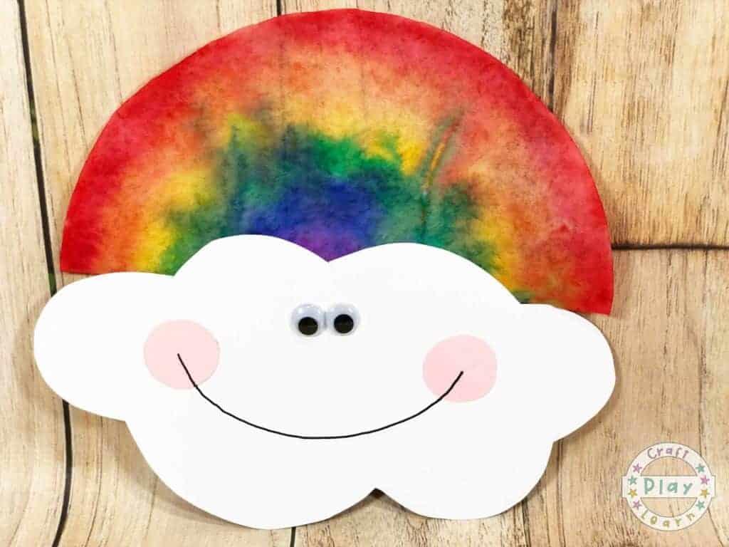 coffee filter rainbow craft for preschoolers