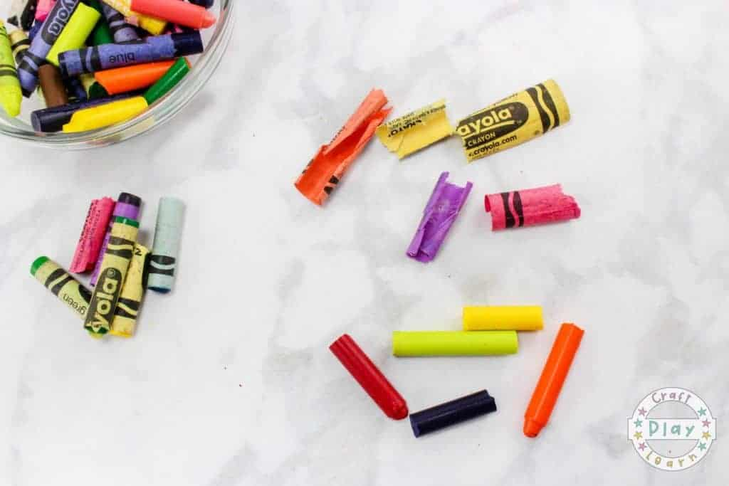 broken crayola crayons for recycling project