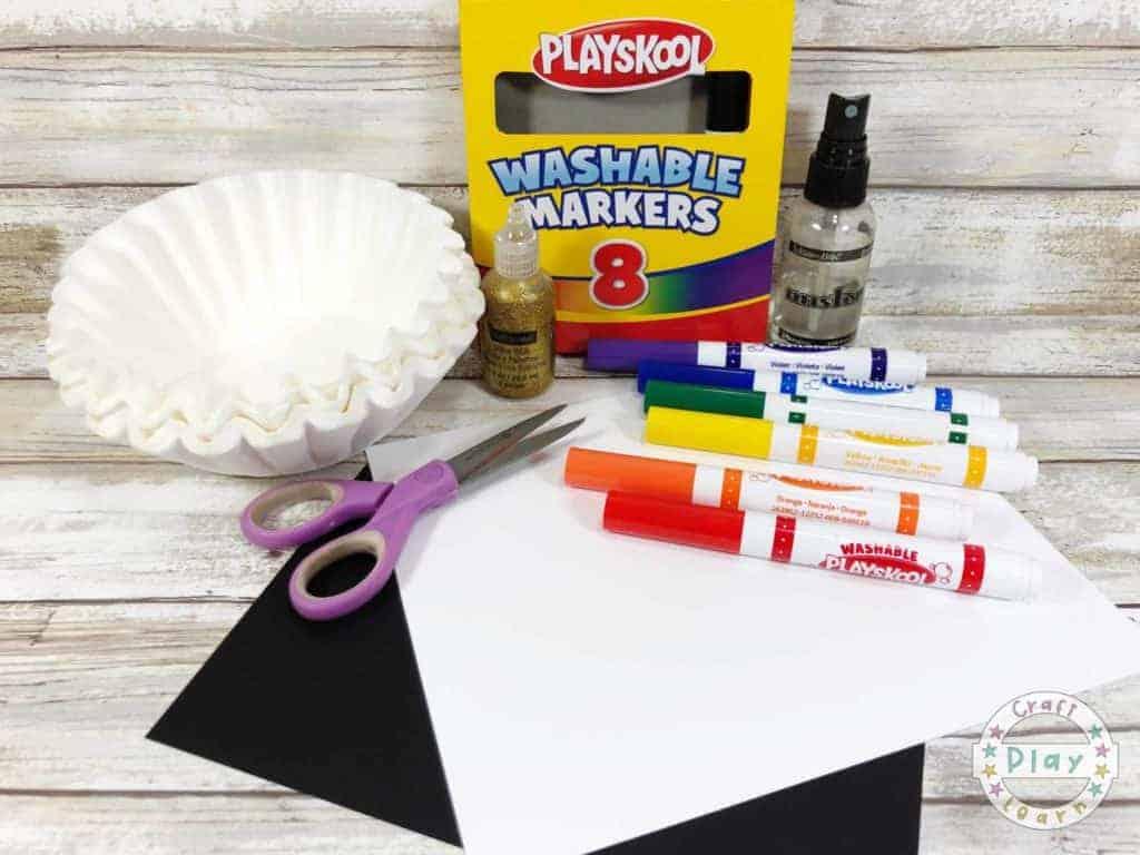 supplies to make coffee filter rainbow craft