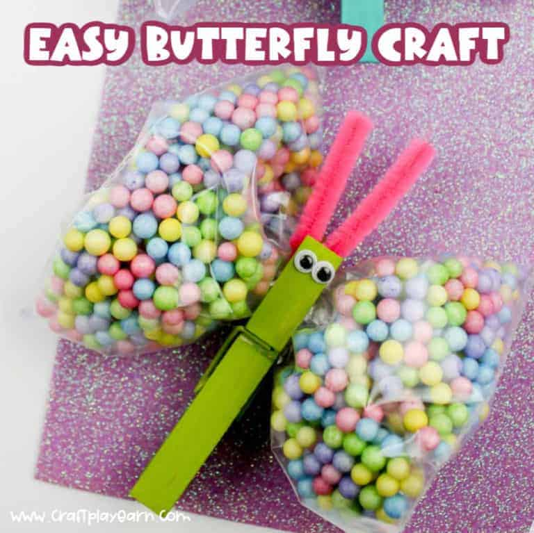 butterfly craft idea for children using a clothes peg