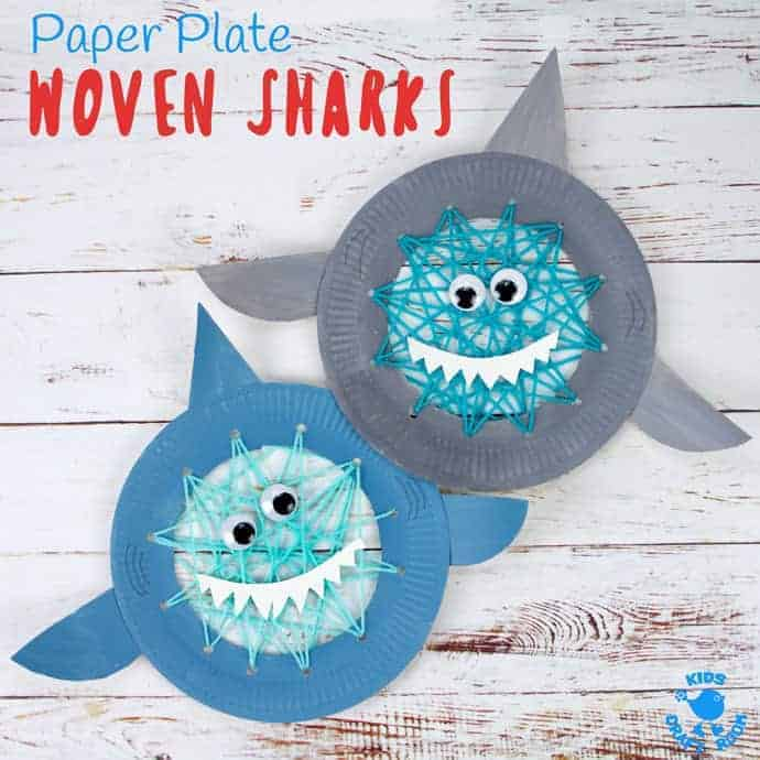 paper plate woven sharks