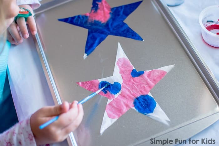 red white and blue coffee filter stars