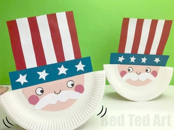 rocking paper plate uncle sam craft