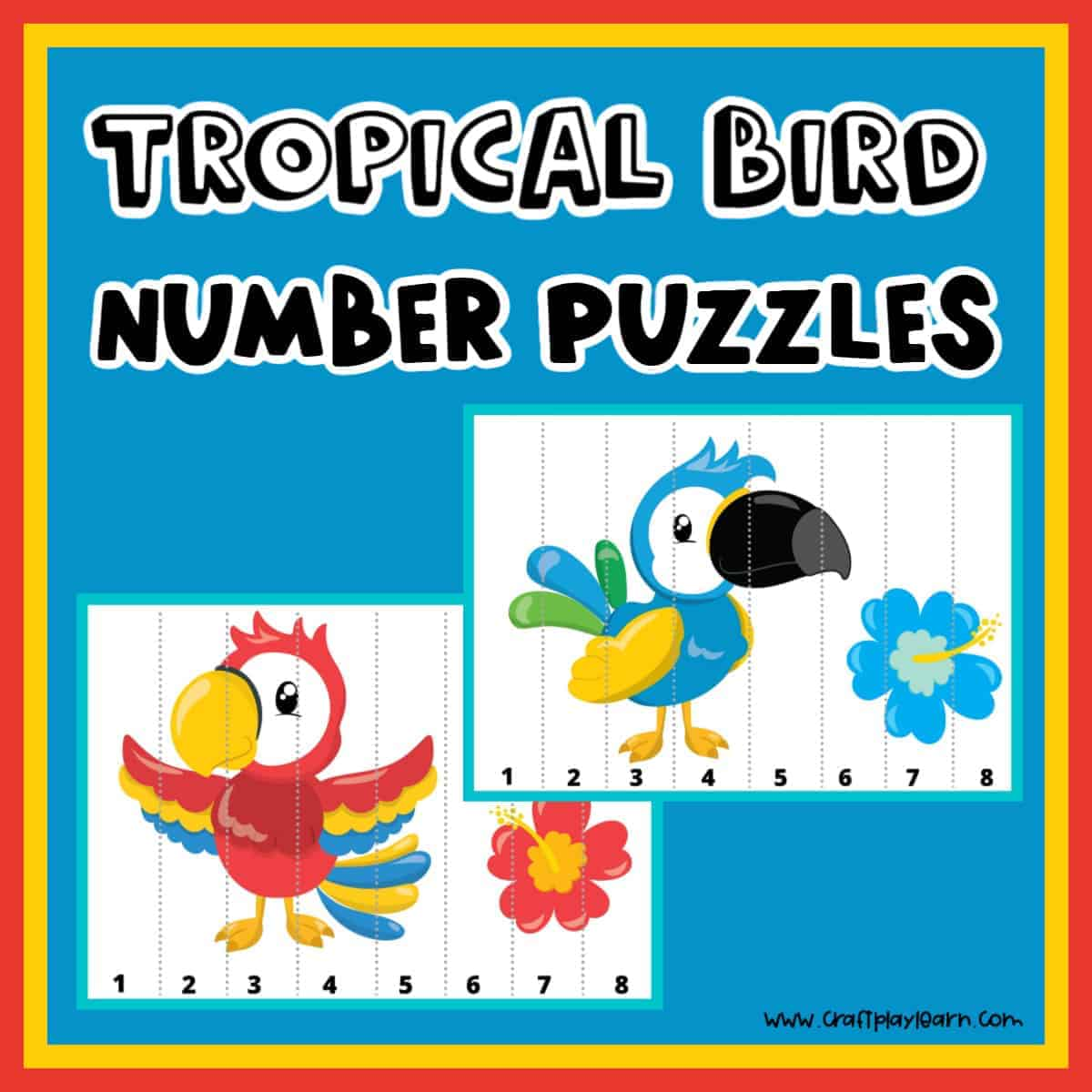 tropical bird number puzzles for kids
