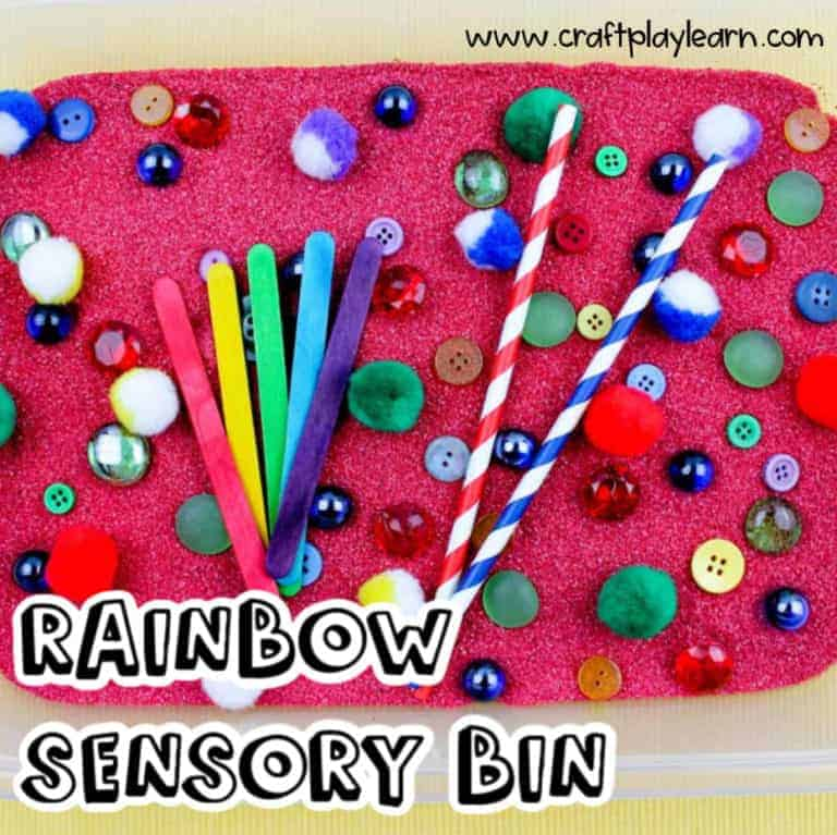 sensory bin for kids with straws and buttons