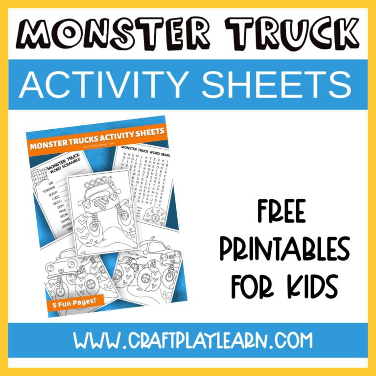 monster truck activity sheets