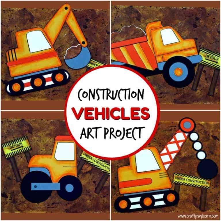 construction vehicles art project