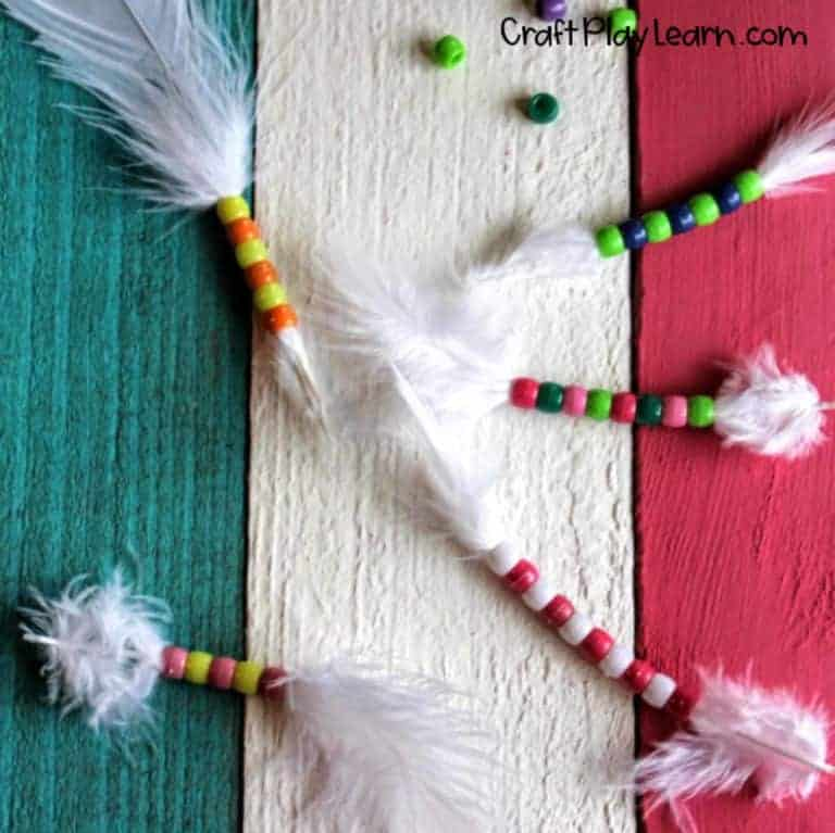 feather beading activity for kids