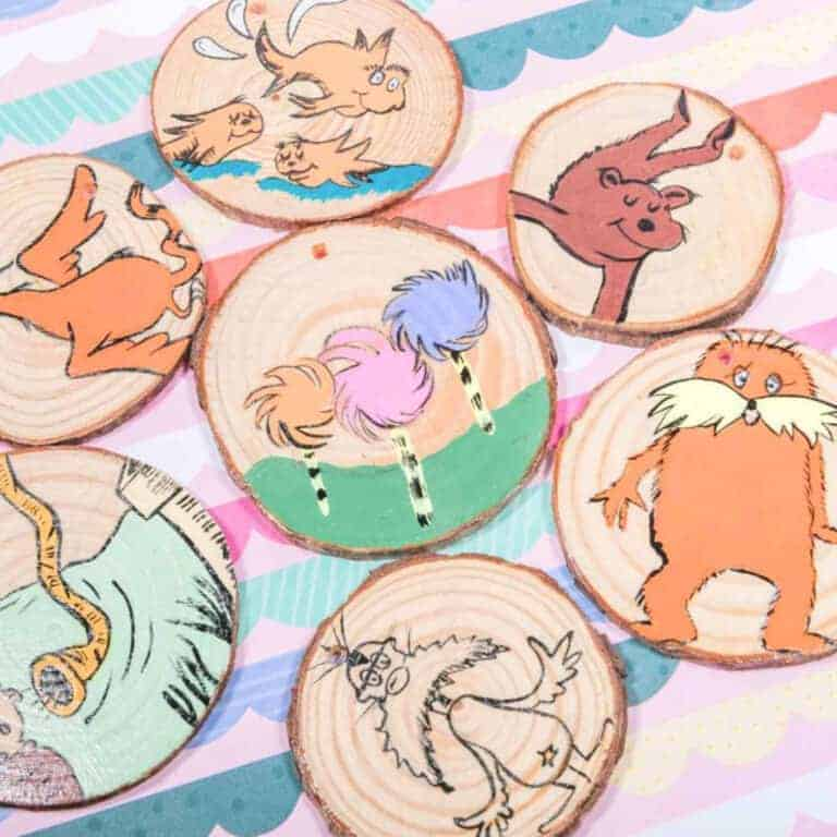 the lorax craft and reading resource made from wooden slices