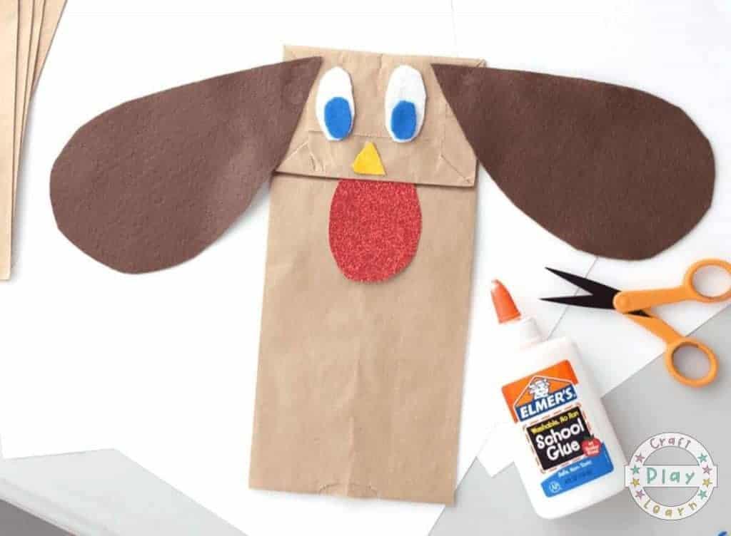 Paper Bag Dog Puppet Craft For Kids