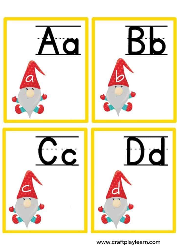 gnome alphabet flash cards