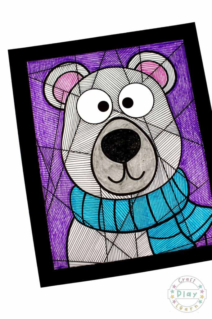 polar bear art and coloring page