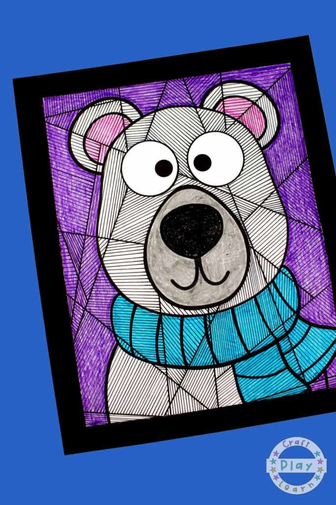 polar bear art and coloring page on backing paper